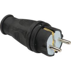 Силовая вилка Baysal Elektrik 2P+E прямая с заземлением 250 В 16 А IP44 каучук черная