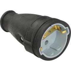 Силовое гнездо Baysal Elektrik 2P+E с заземлением 250 В 16 А IP44 каучук черное