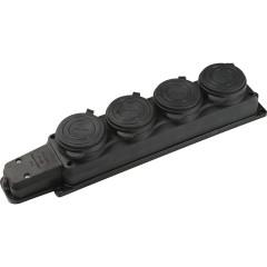 Силовая колодка четверная Baysal Elektrik 2P+E о/у с заземлением 250 В 16 А IP44 каучук черная