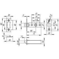 Защелка врезная Fuaro Plastic P12-45-25 GP латунь