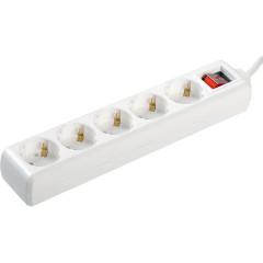 Удлинитель IEK У05К-выкл. 5 мест 2Р+PЕ 5 метров 3х1 мм2 16 А 250 В белый