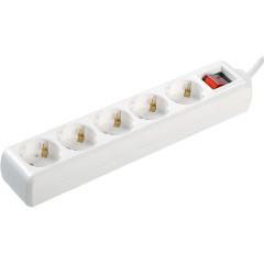 Удлинитель IEK У05К-выкл. 5 мест 2Р+PЕ 3 метра 3х1 мм2 16 А 250 В белый