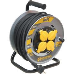 Удлинитель на катушке IEK УК30 с термозащитой Professional 2P+PE с/з 230 В 16 А IP44 черный