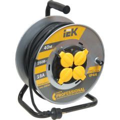 Удлинитель на катушке IEK УК40 с термозащитой Professional 2P+PE с/з 230 В 16 А IP44 черный