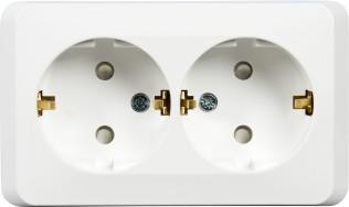 Розетка Schneider Electric Этюд двойная с заземлением со шторками белая