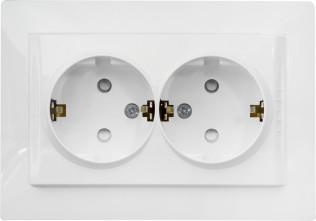 Розетка Schneider Electric Unica двойная с заземлением со шторками белая