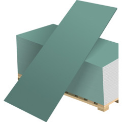 Гипсокартон влагостойкий Волма ГКЛ 3000х1200х12.5 мм