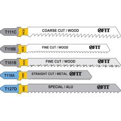 Набор полотен FIT T111C; T119B; T101B; T118A; T127D для электролобзика по дереву и металлу, 5 шт.