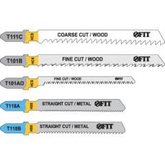 Набор полотен FIT T111C; T101BR; T101AO; T118A; T118B для электролобзика по дереву и металлу, 5 шт.