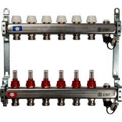"""Коллектор STOUT с расходомерами с клапаном выпуска воздуха и сливом 1"""" 3/4EK-M 6 отводов"""