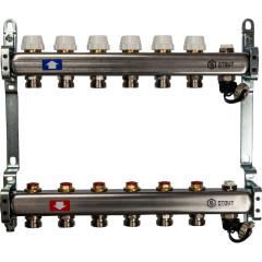 """Коллектор STOUT без расходомеров с клапаном выпуска воздуха и сливом 1"""" 3/4EK-M 6 отводов"""