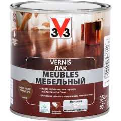 Лак для мебели V33 Meubles глянцевый дуб темный 0.5 л
