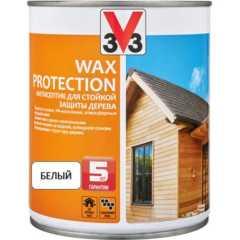Антисептик V33 Wax Protection с добавлением воска полуглянцевый белый 0.9 л