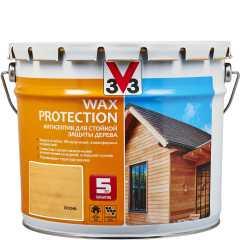 Антисептик V33 Wax Protection с добавлением воска полуглянцевый сосна 9 л