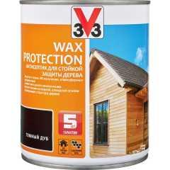 Антисептик V33 Wax Protection с добавлением воска полуглянцевый темный дуб 0.9 л