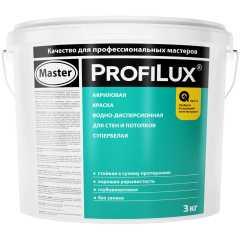 Краска акриловая для стен и потолков Profilux master Супербелая 3 кг