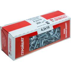 Саморезы для тонких пластин Стройбат 4.2х19 оцинкованные, 200 шт.