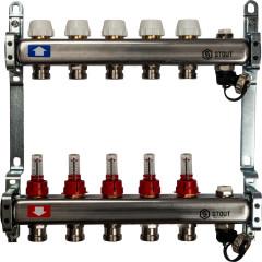Коллектор STOUT из нержавеющей стали с расходомерами с клапаном выпуска и сливом 5 выходов