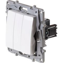 Выключатель трехклавишный Legrand Etika Plus белый