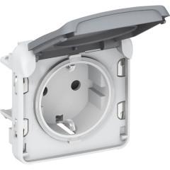 Розетка Legrand Plexo 2К+3 с винтовыми зажимами заземлением и крышкой серая
