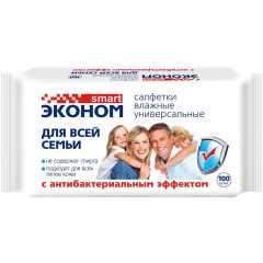 Салфетки влажные антибактериальные Эконом smart 100 шт.