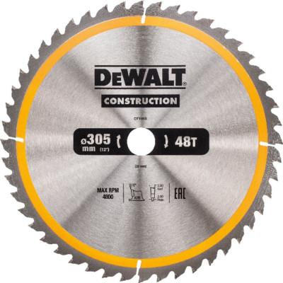 Фото - Диск пильный Dewalt Construction по дереву с гвоздями 305x30x48 мм DT1959-QZ диск dewalt construction пильный по дереву с гвоздями 250x30mm dt1956 qz
