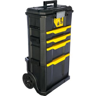 Ящик для инструмента Stanley Modular Rolling Workshop черно-желтый металлопластмассовый 48.8х86.6х34.8 см ящик для инструмента stanley fatmax promobile job chest черно желтый металлопластмассовый 91х51 6х 43 1 см
