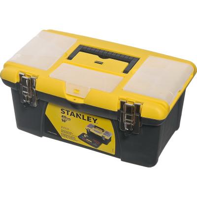 Ящик для инструмента Stanley Jumbo черно-желтый металлопластмассовый 16 дюймов 39.4х25.4х17.8 см ящик для инструмента stanley fatmax promobile job chest черно желтый металлопластмассовый 91х51 6х 43 1 см