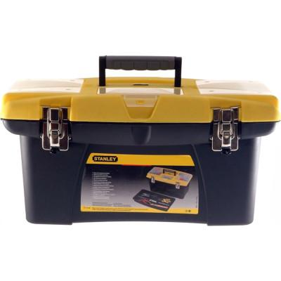 Ящик для инструмента Stanley Jumbo черно-желтый металлопластмассовый 22 дюйма 56.2х31.4х28.3 см ящик для инструмента stanley fatmax promobile job chest черно желтый металлопластмассовый 91х51 6х 43 1 см