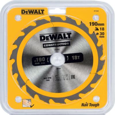 Фото - Пильный диск по дереву с гвоздями Dewalt Construction 190x30 мм 18 зубов DT1943-QZ диск dewalt construction пильный по дереву с гвоздями 250x30mm dt1956 qz