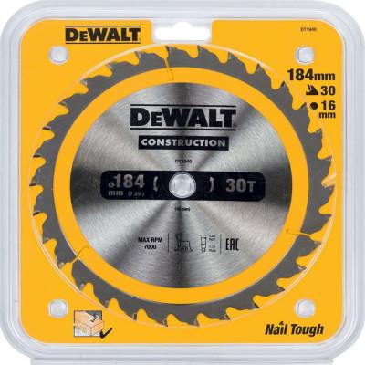 Фото - Пильный диск по дереву с гвоздями Dewalt Construction 184х16 мм 30 зубов DT1940-QZ пильный диск dewalt dt90249 construction 254 30 40t atb7 dt90249 qz