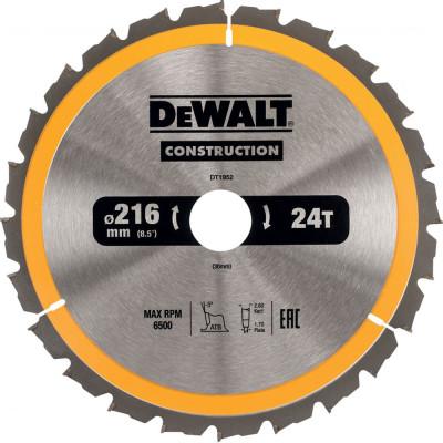 Фото - Пильный диск по дереву с гвоздями Dewalt Construction 216x30 мм 40 зубов DT1953-QZ диск dewalt construction пильный по дереву с гвоздями 250x30mm dt1956 qz