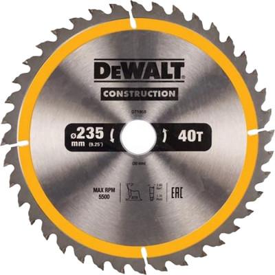 Фото - Пильный диск по дереву с гвоздями Dewalt Construction 235x30 мм 40 зубов DT1955-QZ диск dewalt construction пильный по дереву с гвоздями 250x30mm dt1956 qz