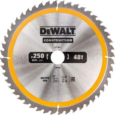 Фото - Пильный диск по дереву с гвоздями Dewalt Construction 250х30 мм 48 зубов DT1957-QZ диск dewalt construction пильный по дереву с гвоздями 250x30mm dt1956 qz