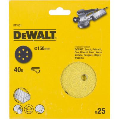 Шлифовальные круги Dewalt 6 отверстий 40G d 150 мм, 25 шт. DT3131-QZ
