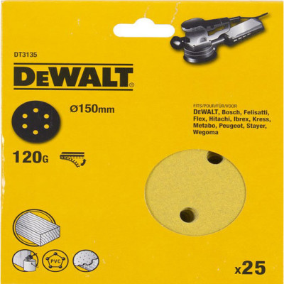 Шлифовальные круги Dewalt 6 отверстий 60G d 150 мм, 25 шт. DT3132-QZ