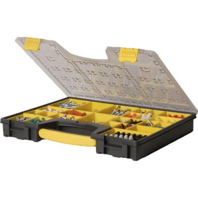 Органайзер для инструмента Stanley черно-серо-желтый пластмассовый 49.2х43.1х11 см ящик для инструмента stanley essential черно желтый металлопластмассовый 16 дюймов 40 6х20 5х19 5 см