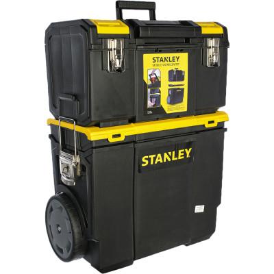 Ящик для инструмента Stanley Mobile Workcenter черно-желтый металлопластмассовый 47.5х63х28.4 см ящик для инструмента stanley fatmax promobile job chest черно желтый металлопластмассовый 91х51 6х 43 1 см