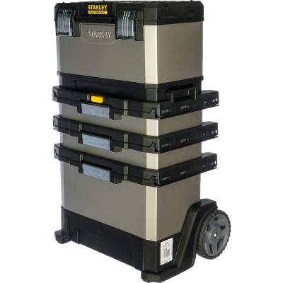 Ящик для инструмента Stanley FatMax Rolling Workshop серо-черный металлопластмассовый 56.8х89.3х38.9 см ящик для инструмента stanley fatmax promobile job chest черно желтый металлопластмассовый 91х51 6х 43 1 см