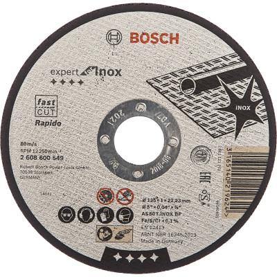 Диск отрезной Bosch Expert for Inox 125х1.0 мм прямой 2608600549 отрезной круг bosch expert for inox 125х1мм 2608600549