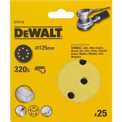 Круги шлифовальные Dewalt 8 отверстий 320G 125 мм, 25 шт. DT3118-QZ