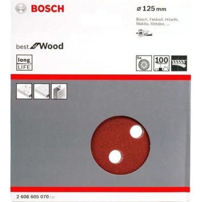 Фото - Шлифовальный лист Bosch C470 Best for Wood and Paint D125 мм К100, 5 шт. 2608605070 шлифкруг bosch 125мм к40 50шт best for wood paint 2 608 607 824