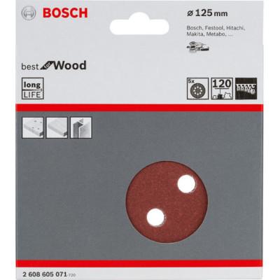 Фото - Шлифовальный лист Bosch C470 Best for Wood and Paint D125 мм К120, 5 шт. 2608605071 шлифкруг bosch 125мм к40 50шт best for wood paint 2 608 607 824
