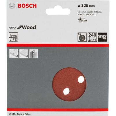 Фото - Шлифовальный лист Bosch C470 Best for Wood and Paint D125 мм К240, 5 шт. 2608605073 шлифкруг bosch 125мм к40 50шт best for wood paint 2 608 607 824