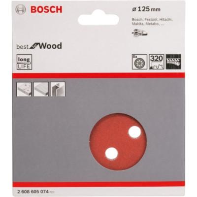 Фото - Шлифовальный лист Bosch C470 Best for Wood and Paint D125 мм К320, 5 шт. 2608605074 шлифкруг bosch 125мм к40 50шт best for wood paint 2 608 607 824