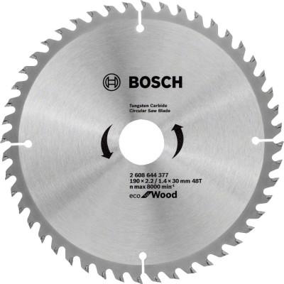 Диск пильный Bosch Eco for wood 190х30 мм 48 зубьев 2608644377 диск пильный bosch eco wood 230 ммx30 мм 48зуб 2608644382