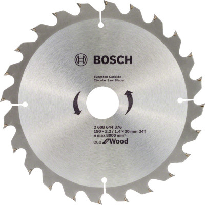 Диск пильный Bosch Eco for wood 190х30 мм 24 зуба 2608644376 диск пильный bosch eco wood 230 ммx30 мм 48зуб 2608644382