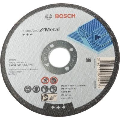 Диск отрезной Bosch Standard по металлу 125х2.5 мм прямой 2608603166 коронка по металлу bosch standard 56 мм 2 608 584 848
