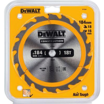 Фото - Диск пильный Dewalt Construction по дереву с гвоздями 184x16x18 мм DT1938-QZ диск dewalt construction пильный по дереву с гвоздями 250x30mm dt1956 qz