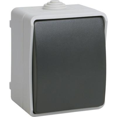Выключатель одноклавишный IEK Форс EVS10-K03-10-54-DC открытой установки IP54 серый